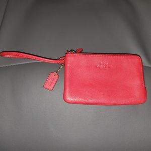 Coach Double Zip Red Leather Wristlet